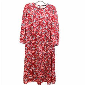 Boohoo Plus Size, Red, floral design,MIDI Dress 16